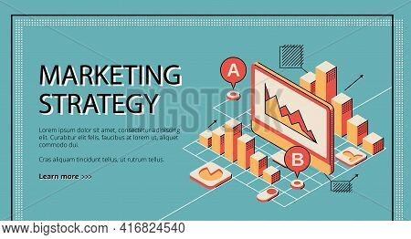 Marketing Strategy Landing Page On Retro Colored Background. Tablet Screen With Database Diagram Gra