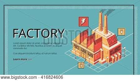 Factory On Retro Colored Background. Heavy Industry, Energy Generation Plant Building With Chimneys