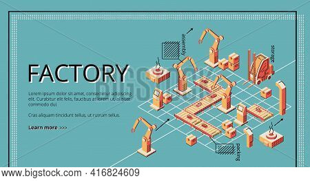 Factory Conveyor Belt Landing Page. Robotic Arms Packing Producion On Transporter Belt Line. Automat