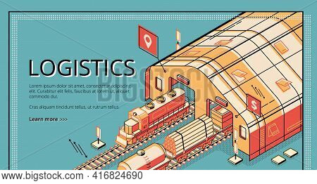 Industrial Production Logistics Isometric Vector Web Banner. Locomotive Pulling Cargo Wagons With Ti