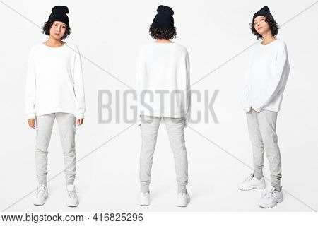 Woman in white basic sweater with design space casual apparel full body set