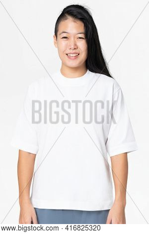 White oversized t-shirt with design space women's casual apparel
