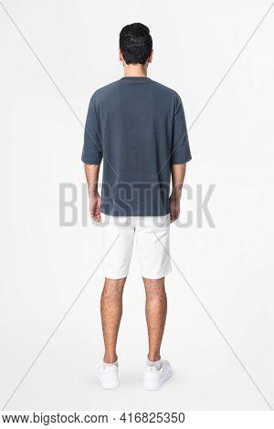 Gray t-shirt and shorts men's basic wear rear view
