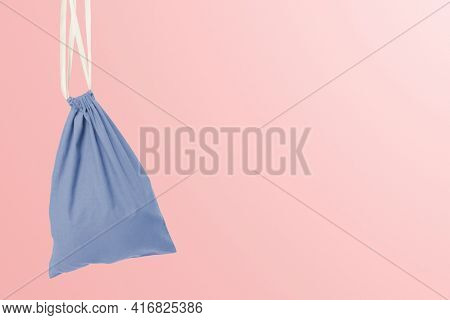 Drawstring pouch bag blue accessory studio shoot with design space