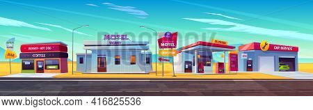 Roadside Motel With Parking, Oil Station, Burger And Coffee Bar And Car Service. Index Signboard Sho