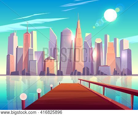 City Architecture View From Pier. Megapolis Buildings Sparkling In Bright Sun Rays Reflecting In Wat