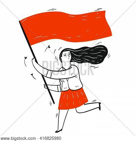 Collection Of Hand Drawn A Girl Running While Holding Flag.vector Illustrations In Sketch Doodle Sty