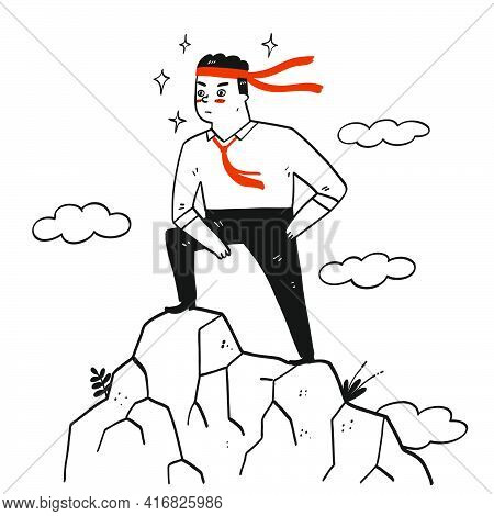 Collection Of Hand Drawn A Man With His Necktie Tie On His Head Doing A Successful Post.vector Illus