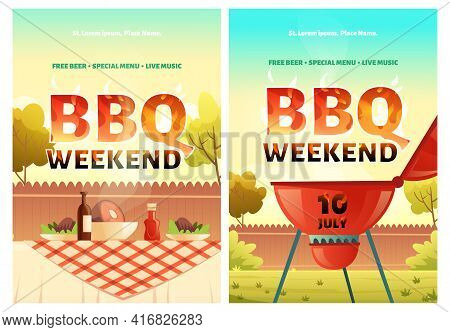 Bbq Weekend Cartoon Posters Or Invitation For Outdoor Backyard Party With Cooking Grill And Food On