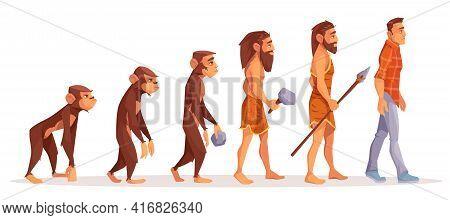 Human Evolution Cartoon Vector Concept. Male Monkey, Walking Upright Primate, Prehistoric, Stone Age
