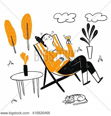 Pretty Woman Sitting In A Deck Chair Drinking Fancy Cocktail, Wearing A Long Sleeve Shirt, Big Smile