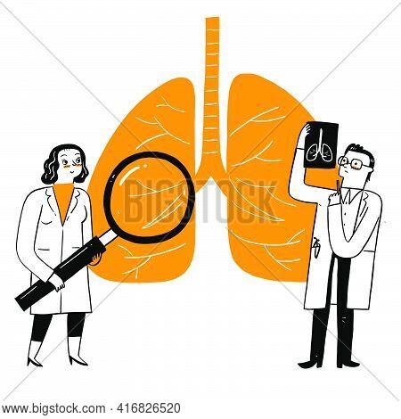 Respiratory Medicine Pulmonology Healthcare Concept. Doctors Check Human Tuberculosis Or Pneumonia L
