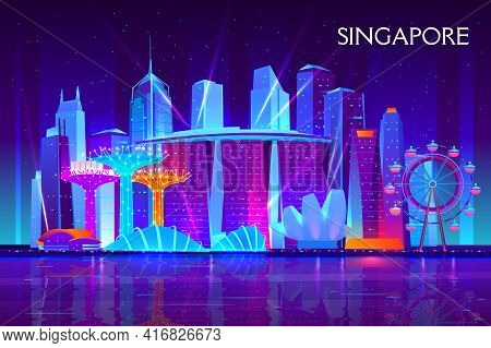 Singapore City Night Skyline Cartoon Vector Background. Illuminated Neon Light Modern Skyscrapers, R