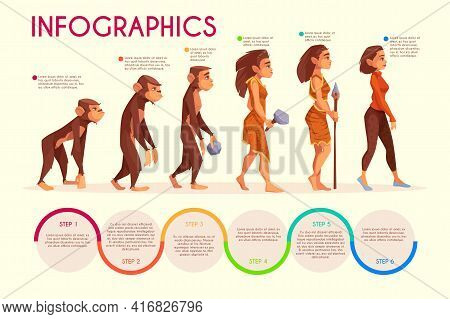 Womens Evolution Stages Cartoon Vector Infographics. Monkey, Female Primate Walking Upright, Prehist