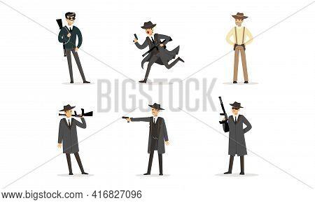 Gangsters Set, American Mafia Criminal Characters In Raincoat Fedora Hat With Gun Cartoon Vector Ill