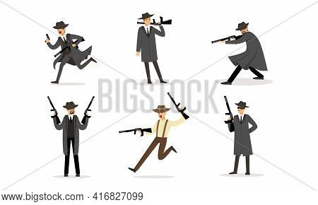 Gangsters Criminal Mobsters Set, American Mafia Criminal Characters In Raincoat Fedora Hat With Gun