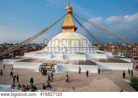 Kathmandu, Nepal : October-17-2018 : Aerial View Of Boudhanath Stupa The Largest Stupas In The World