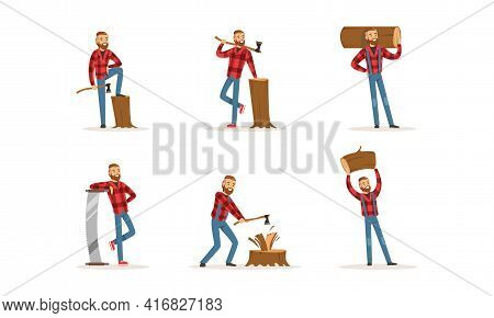 Cheerful Bearded Lumberjack In Action Set, Woodcutter Cartoon Character Wearing Plaid Shirt With Wor