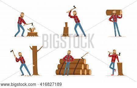 Man Lumberjack In Action Set, Woodcutter Cartoon Character Wearing Plaid Shirt Working With Axe Cart