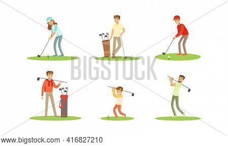 People Playing Golf Set, Men And Women Golfer Players Training With Golf Clubs, Sports Activity, Hob