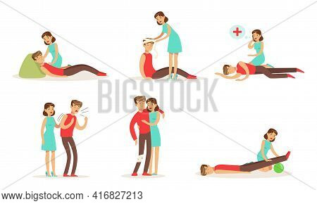 Set Of Emergency First Aid Resuscitation Procedures, Young Woman Providing First Aid Treatments To M