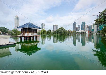 Colombo Cityscape With Seema Malaka Buddhist Temple In The Beira Lake In Colombo, Sri Lanka. Seema M