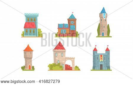 Medieval Buildings Set, Ancient Stone Mansions And Castle Towers Cartoon Vector Illustration