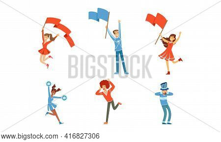 Happy Fans Cheering For Their Team Set, Cheerful People Supporting Athletes With Flags Cartoon Vecto