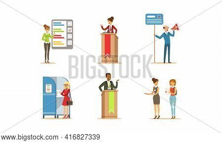 Election Campaign And Voting Set, People Voting At The Polls, Party Candidates Giving Speech Cartoon