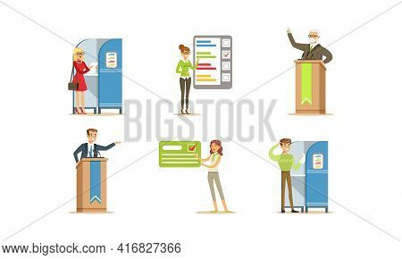 Election Campaign And Voting Set, People Voting At Presidential Elections, Party Candidates Giving S