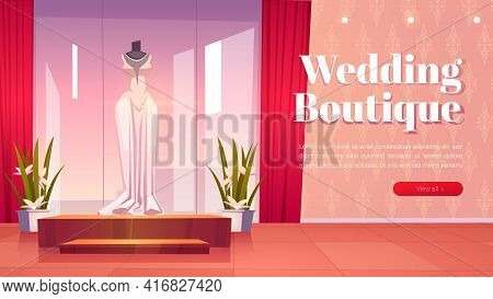 Wedding Boutique Cartoon Landing Page, Bridal Shop Interior With Dresses On Mannequins And Large Mir