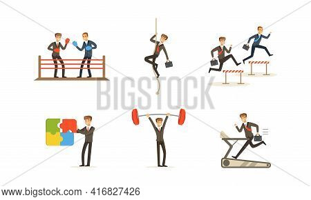 Competition Of Business People Set, Office Employees Competing Among Themselves, Overcoming Obstacle