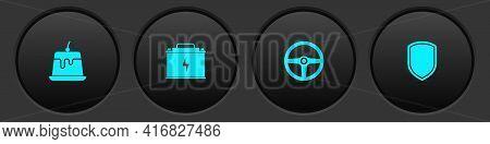 Set Pudding Custard, Car Battery, Steering Wheel And Shield Icon. Vector