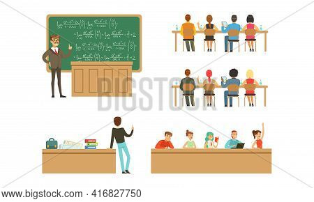 Students At University Set, Students And Professors In Lecture Hall At Learning Process Cartoon Vect