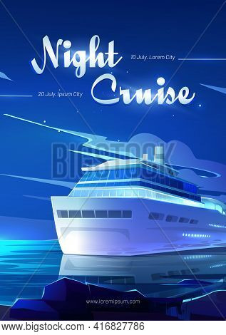 Night Cruise On Sea Liner Cartoon Flyer, Invitation For Booking Ticket On Modern Ship Travel In Ocea