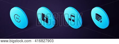 Set Isometric Database Protection, Music Note, Tone, Floppy Disk In The 5.25-inch And Clock 24 Hours
