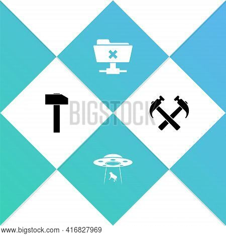 Set Hammer, Ufo Abducts Cow, Ftp Cancel Operation And Two Crossed Hammers Icon. Vector