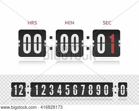 Last Second Illustration Template. Scoreboard Number Font. Vector Coming Soon Web Page Design With F