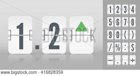 Flip Number And Symbol Scoreboard. White Flip Airport Board For Countdown Timer. Stock Exchange Vect
