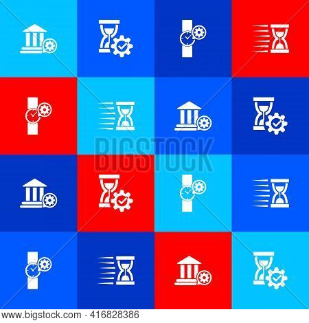 Set Bank Building Setting, Hourglass, Wrist Watch And Old Hourglass With Sand Icon. Vector