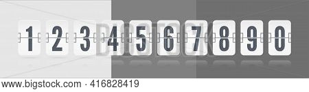 White Set Of Flip Floating Scoreboard With Reflections And Digits And Symbols For Countdown Timer On
