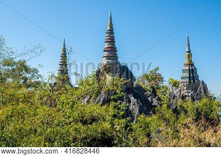 Group Of The Pagodas In Temple Of Wat Chaloem Phra Kiat, One Of The Most Tourist Attraction Place In