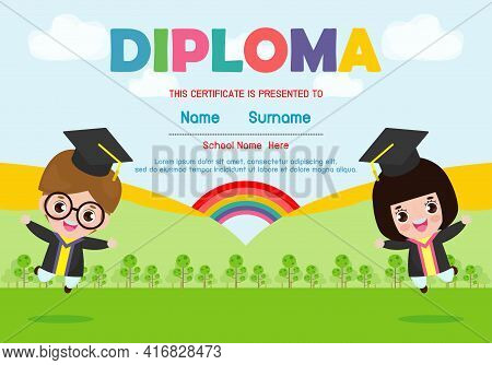 Certificates Kindergarten And Elementary, Preschool Kids Diploma Certificate Background Design Templ