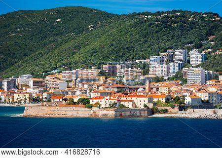 Corsica, France coastal resorts skyline on the Mediterranean.