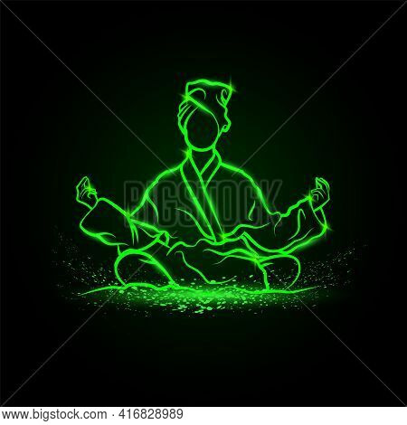 Girls In Lotus Position Meditate In Bathrobe And Take A Spa Treatments. Vector Green Neon Yoga Illus