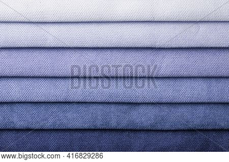 Swatch Of Woven Textile Shade And Gradient Of Blue Colors, Background. Catalog And Palette Tone Of I