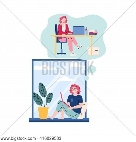 Woman Working Freelance At Home Thinking About Workplace In Business Office.