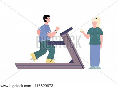 Young Man Running On Treadmill In Gym The Guidance Of Woman Sport Coach.