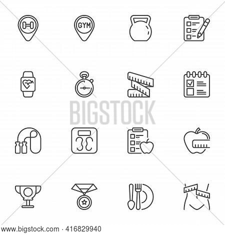 Activity, Sport Line Icons Set, Healthy Lifestyle Outline Vector Symbol Collection, Linear Style Pic