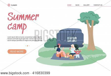 Family Tourism, Travel, Adventure And Recreation On Nature In Summer Camping.